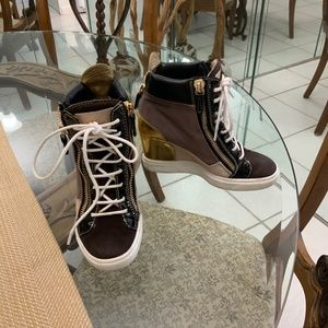 Giuseppe Zanotti Suede Leather Wedge Sneakers